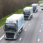Volvo truck has led a platoon - a convoy in which vehicles automatically follow a lead truck. *** BRUSSEL, BELGIUM - 05/04/2016 Photo by Jan De Meuleneir/Photonews ***